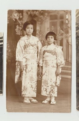 With older sister, Namiko in Japan.