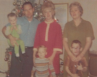 Gregg with his mother, father, grandmother, and brother